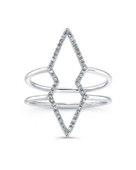 Anne Sisteron | Metallic 14kt White Gold Diamond Double Open Spear Ring | Lyst