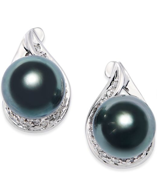 macy s pearl earrings macy s cultured tahitian black pearl 9mm and 1 8023