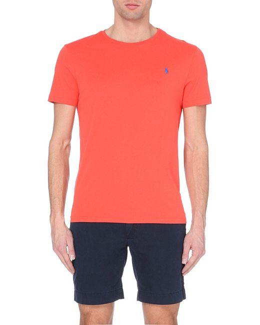 Ralph Lauren | Orange Custom-fit Logo Cotton-jersey T-shirt, Men's, Size: S, Hyannsprt Orng for Men | Lyst