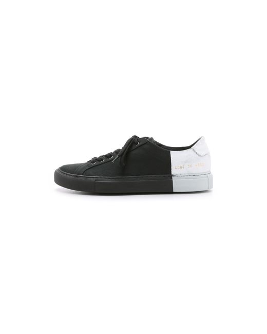 6397 | Black Two-Toned Canvas Low-Top Sneakers | Lyst