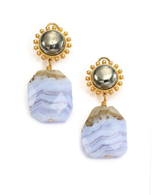 Nest | Metallic Blue Lace Agate Drop Earrings | Lyst