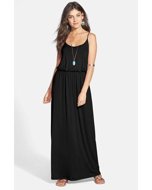 Lush Knit Maxi Dress In Black Navy Marsala Stripe