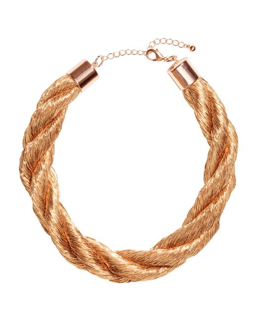 H&M   Metallic Twisted Necklace   Lyst