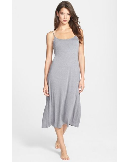 Natori | Gray 'shangri-la' Scooped Back Knit Gown | Lyst