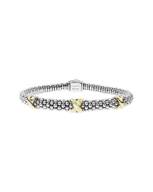 Lagos | Metallic 'signature Caviar' Two-tone Mini Oval Rope Bracelet | Lyst