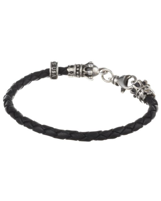 King Baby Studio | Black Small Leather Braid W/ Crowns | Lyst