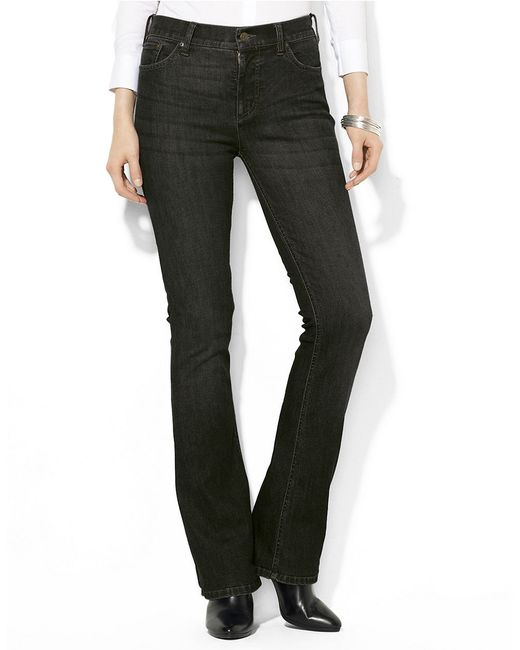 Lauren by Ralph Lauren | Black Super Stretch Slimming Classic Straight Jeans | Lyst