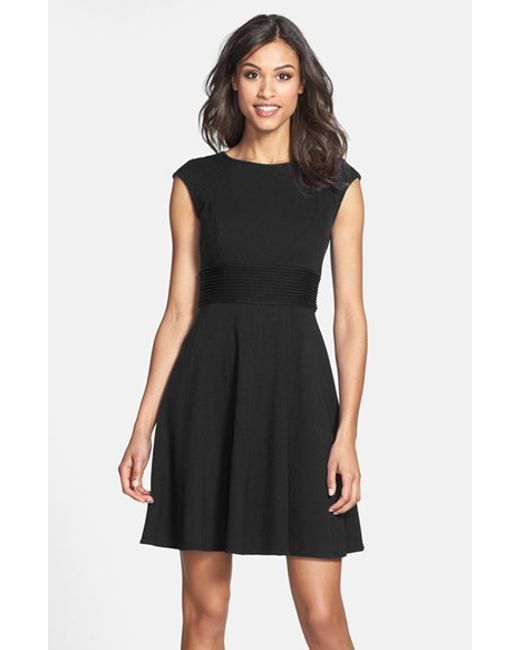 Eliza J | Black Pintucked Waist Seamed Ponte Knit Fit & Flare Dress | Lyst