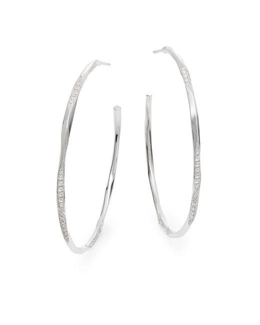 "Ron Hami | Metallic Lace White Topaz & Sterling Silver Hoop Earrings/2"" | Lyst"