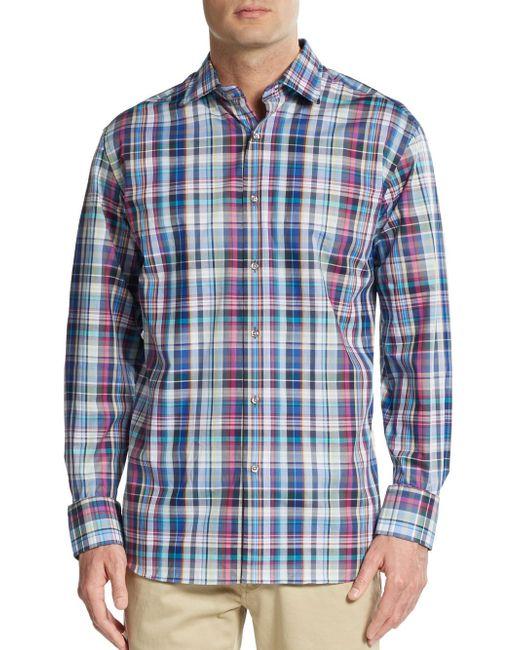 Saks Fifth Avenue | Regular-fit Multicolored Plaid Cotton Sportshirt for Men | Lyst