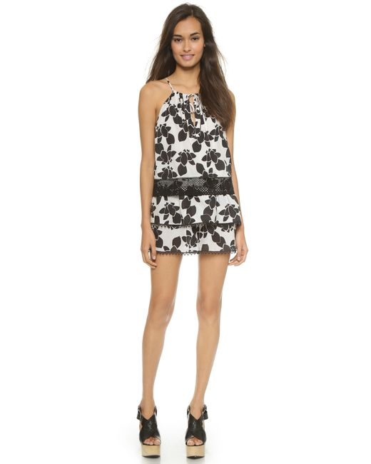 Thakoon Addition | Black Ruffled Floral-Print Romper | Lyst