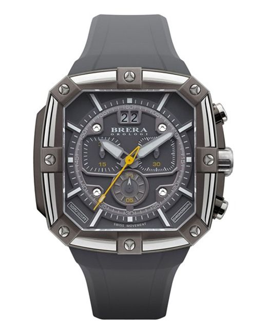 Brera Orologi | Gray 'supersportivo' Square Chronograph Rubber Strap Watch for Men | Lyst