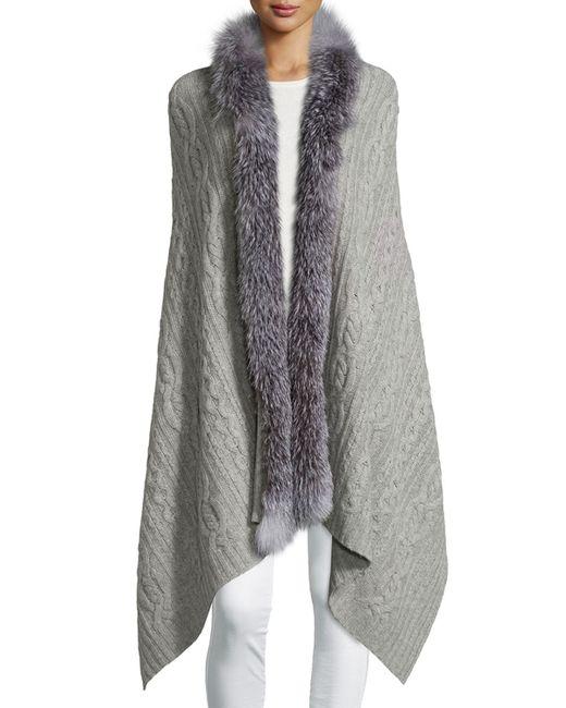 Sofia Cashmere Fur-trim Cashmere Scarf In Gray