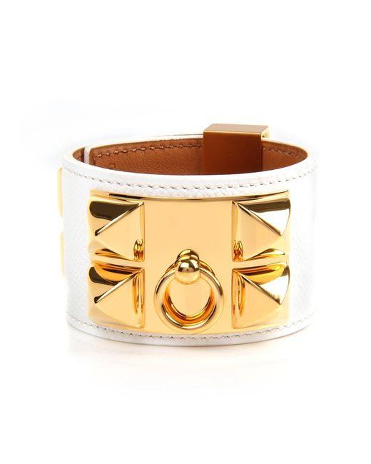 Hermès | White Epsom Leather Collier De Chien Bracelet | Lyst