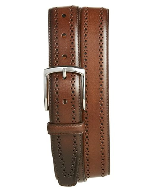 allen edmonds manistee brogue leather belt in brown for