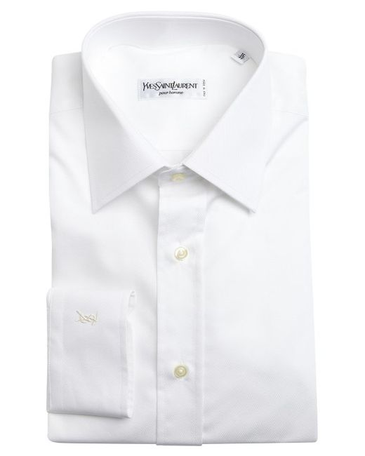 Saint Laurent White Tonal Stripe Cotton Point Collar Dress