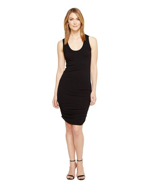 Michael Stars - Black Scoop Neck Tank Dress W/ Shirring - Lyst