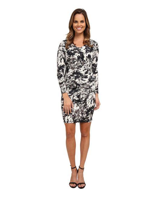 DKNY - Black Marble Sleek Jersey Ruched Dress - Lyst