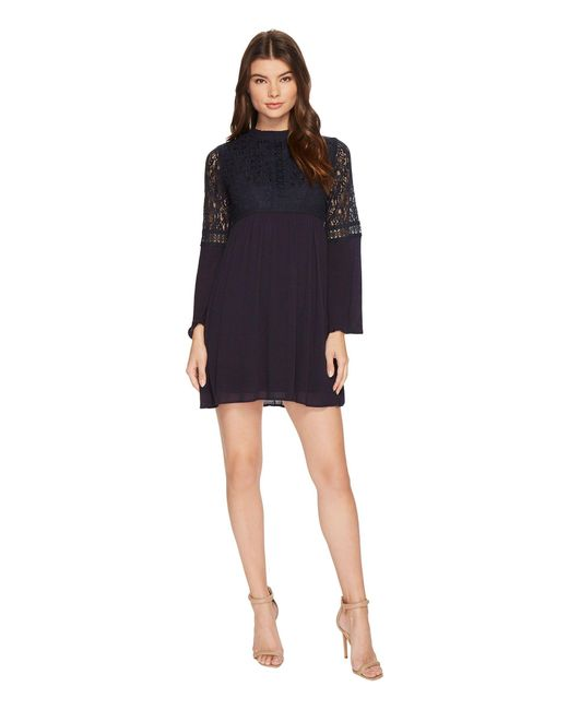 Brigitte Bailey - Blue Janiyah Bell Sleeve Dress With Lace Detail - Lyst