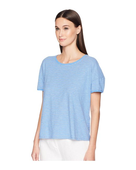 a9c7171df15172 Lyst - Eileen Fisher Jewel Neck Box-top in Blue - Save 50%