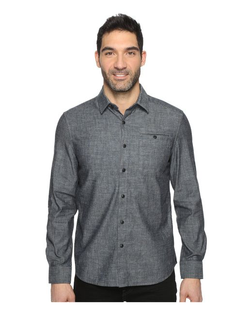 Kenneth Cole - Gray Long Sleeve Button Down Collar Solid Flannel for Men - Lyst