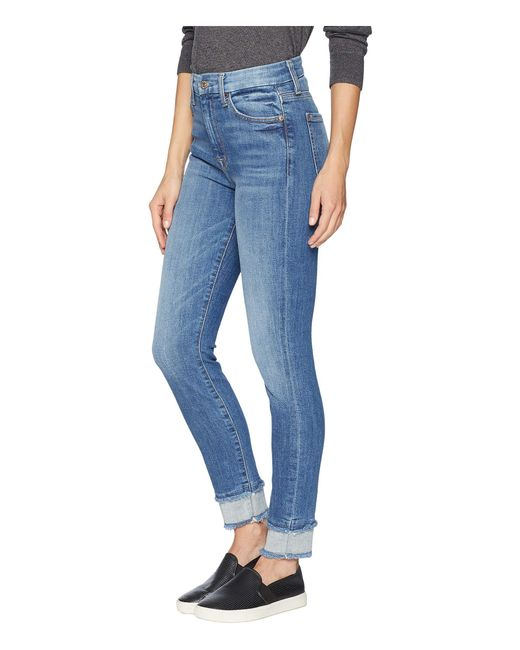 04996a11267bc0 ... 7 For All Mankind - Blue High-waisted Ankle Skinny W  Reverse Double  Fray ...