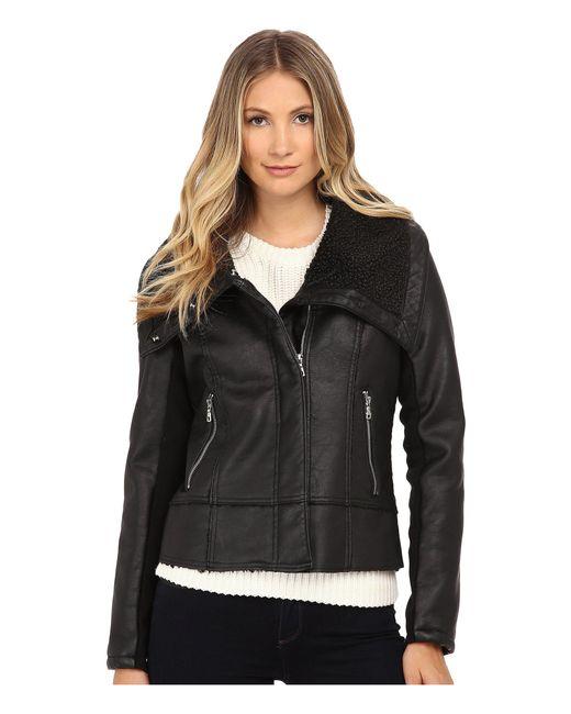 Sam Edelman - Black Pu W/ Oversize Sherpa Collar Moto Jacket - Lyst