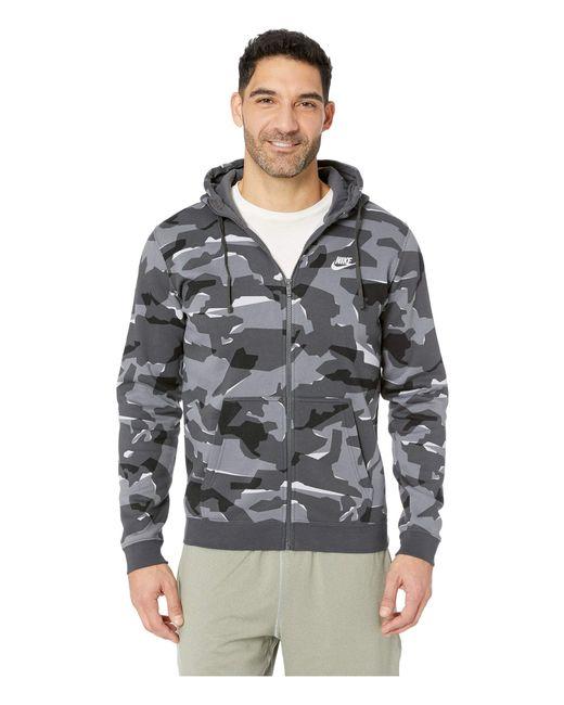 cef70bf7294 Nike - Gray Nsw Club Camo Hoodie Full Zip Bb for Men - Lyst ...