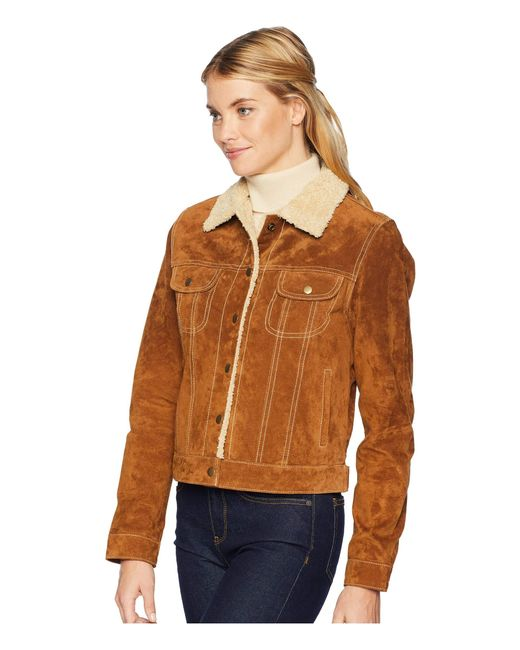 3a96a5fc81cec ... Scully - Brown Raewyn Sherpa Suede Ladies Fun Little Jean Jacket - Lyst  ...