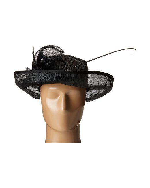 18028616733 ... San Diego Hat Company - Black Drs1002 Straw Kettle Brim Dress derby Hat  With Feathered ...