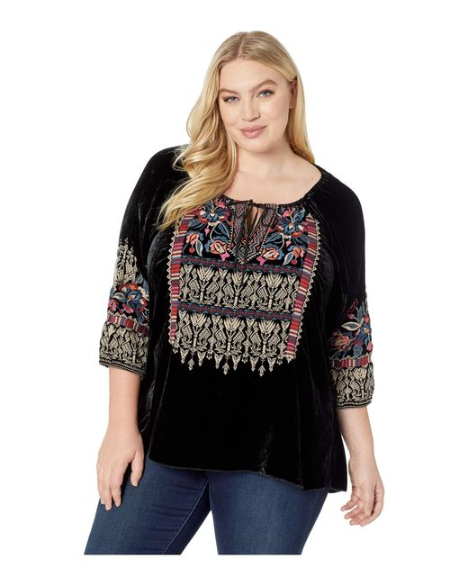 b9ffca5454a7d Lyst - Johnny Was Plus Size Claude Velvet Peasant Blouse in Black ...