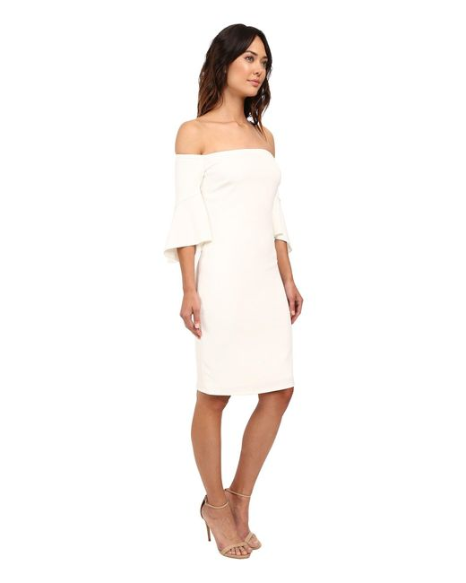 b456226ef38 ... Laundry by Shelli Segal - White Montreal Stretch Crepe Off The Shoulder  Cocktail - Lyst ...