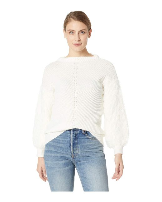 8c54b32c7f71c Lyst - Cece Fuzzy Sleeve Pullover Sweater in White - Save 57%