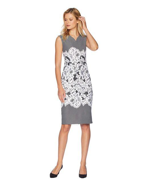 Eci - Black Sleeveless Puff Printed Scuba Sheath Dress - Lyst