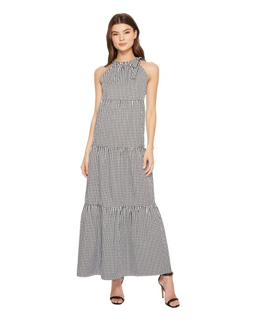Maggy London - Gray Tied Maxi Halter Dress - Lyst