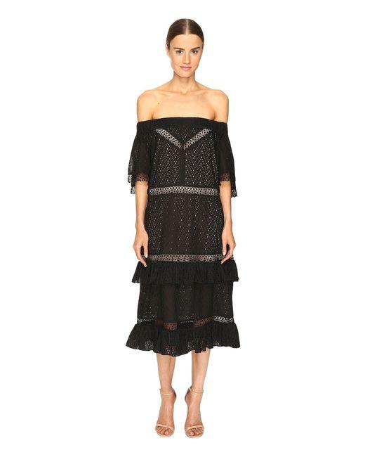 Prabal Gurung - Black Off Shoulder Tiered Ruffle Dress - Lyst