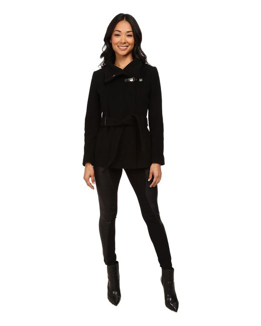 Cole Haan - Black Belted Double Breasted Jacket With Snap - Lyst