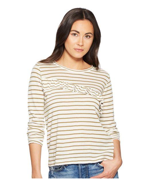 84361b828de009 Lucky Brand - Multicolor Stripe Asymmetrical Ruffle Top - Lyst ...