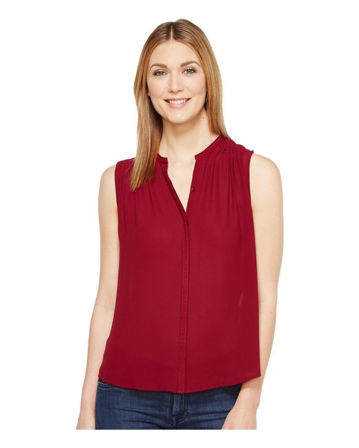 Lucky Brand - Red Pleated Tank Top - Lyst