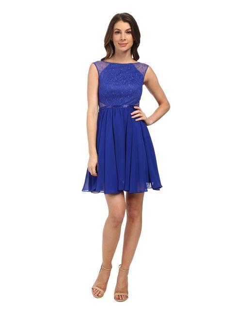 Aidan Mattox - Blue Chiffon Party Dress With Lace Illusion - Lyst