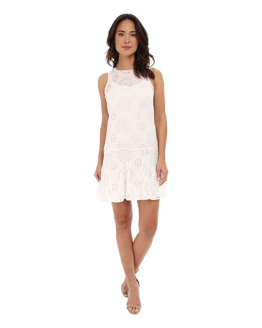 MICHAEL Michael Kors | White Eyelet Godet Dress | Lyst