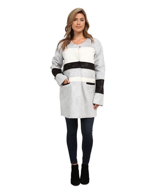 Sam Edelman - Gray Color Block Shearling Jacket - Lyst