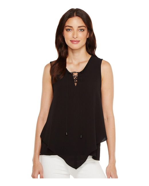 Vince Camuto - Black Sleeveless Handkerchief Lace-up Texture Blouse - Lyst