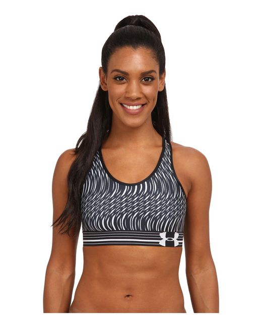 Under Armour - Black Ua Heatgear® Alpha Printed Bra - Lyst
