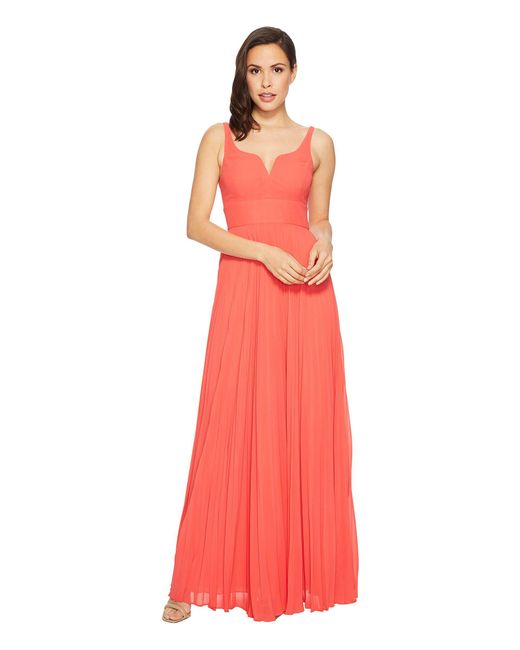 Laundry by Shelli Segal - Pink Chiffon Gown With Sunburst Pleated Skirt - Lyst