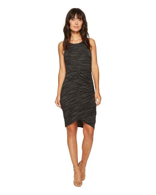Mod-o-doc - Black Space Dye Rayon Spandex Jersey Asymmetrical Shirred Tank Dress - Lyst