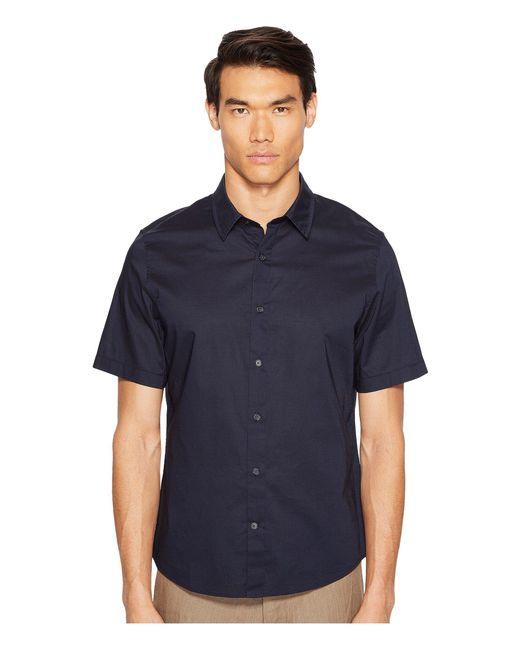 Vince - Blue Reverse Placket Short Sleeve Voile Shirt for Men - Lyst