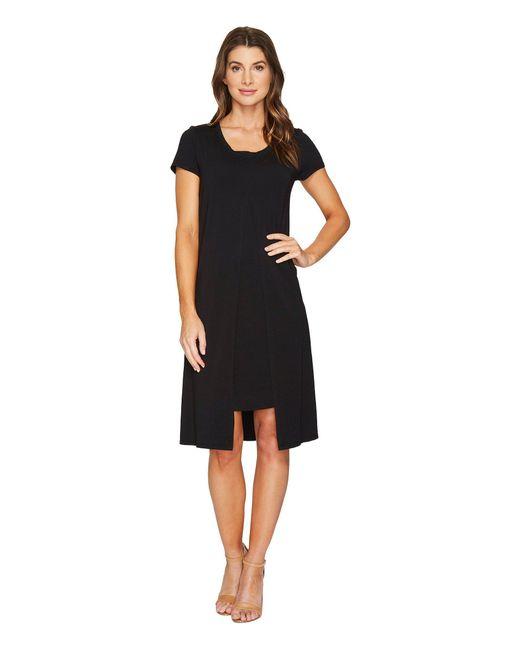 Mod-o-doc - Black Cotton Modal Spandex Jersey Short Sleeve Flyaway Layered T-shirt Dress - Lyst