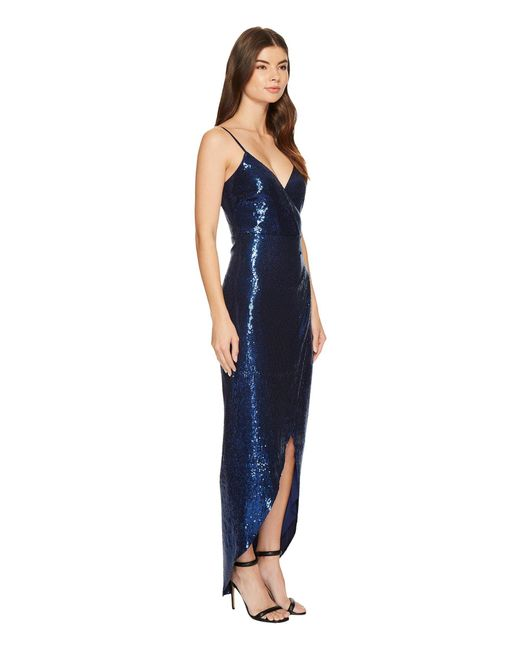 Lyst - Nicole Miller Stretch Sequin Wrap Gown in Blue - Save ...