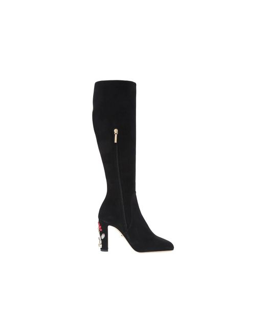 Dolce & Gabbana Suede Knee Boot with Jewel Embellished Heel